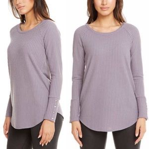Chaser Button Sleeve Waffle Purple Warm Thermal